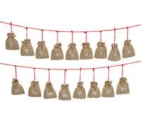 Adventskalender Girlande mit Jutesäckchen, 24-teilig, 320 cm