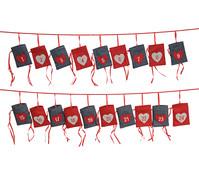 Adventskalender Girlande mit Säckchen, 24-teilig