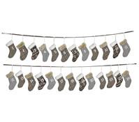 Adventskalender Girlande mit Stoffsocken, 24-teilig, 260 cm