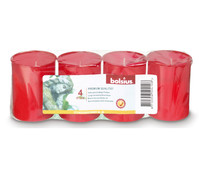 Bolsius Grablicht / Stundenbrenner, rot, 4 Stück