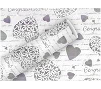 Braun+Company Geschenkpapier Elegant Heart Weiß/Grau, 2 m