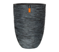 Capi Europe Polystone-Vase in Riffeloptik, rund, anthrazit