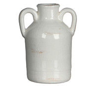 Casa Vivante Terrakotta Vase, Ø 7,5 x 14 cm, weiß