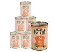 Dehner Fine Nature Adult Kalb & Truthahn, Nassfutter, 6x200g/400g