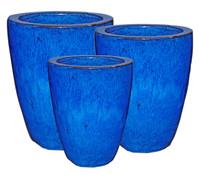 Dehner Keramik Topf-Set, blau-glasiert, konisch