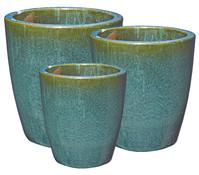 Dehner Keramik Topf-Set, grün-glasiert, konisch