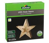 Dehner LED Holzstern, 26 cm beleuchtet