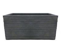 Dehner Leichtbeton-Kasten mit Rillen, antik-schwarz