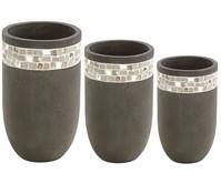 Dehner Leichtbeton Pflanzvasen-Set, konisch, grau