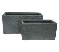 Dehner Leichtbeton Topf-Set, grau, rechteckig