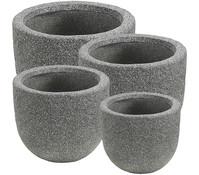 Dehner Leichtbeton Topf-Set, grau, rund