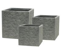 Dehner Leichtbeton Topf-Set, quadratisch, rock