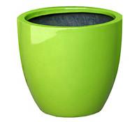 Dehner Polystone-Topf, rund, glänzend grün