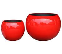Dehner Polystone-Topf, rund, glänzend rot