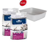 Dehner Premium Katzenstreu, 2 x 12kg + Gratis Katzentoilette