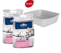 Dehner Premium Katzenstreu mit Babypuderduft, 2 x 12kg + Gratis Katzentoilette