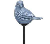 Dehner Premium Metall-Gartenstecker Keramik-Vogel, blau