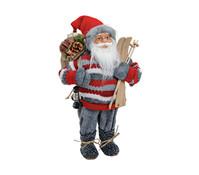 Dekofigur Nikolaus in rot / grau, 46 cm