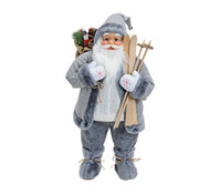 Dekofigur Nikolaus in weiß / grau, 60 cm