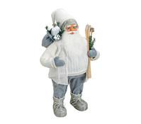 Dekofigur Nikolaus in weiß / grau, 80 cm