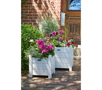 Esschert Holz-Pflanzenkasten, quadratisch, weiß, 30 x 30 x 30 cm
