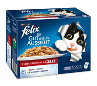 Felix Fleischauswahl in Gelee, Nassfutter, 12 x 100 g