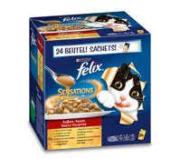 Felix Sensations Soßen-Sause Fleischmix, Nassfutter, 24x100 g