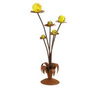 Ferrum Metall-Blume mit Glaskugeln, rost