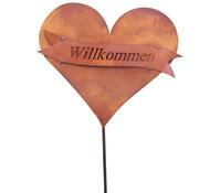 Ferrum Metall-Gartenstab Herz mit Schleife 'Willkommen'