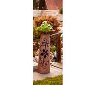 Ferrum Metall-Säule Blüte mit Schale, Kegel, rost, 35 x 35 x 110 cm