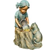 Granimex Polystone-Wasserspiel Lena mit Katze, 56 x 35 x 64 cm