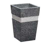 Granit-Pflanztopf, eckig, schwarz, 30 x 30 x 49 cm