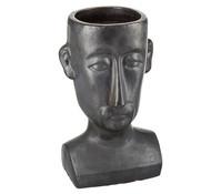 Keramik Blumentopf mit Gesicht, matt schwarz, 50 x 27 x 30 cm