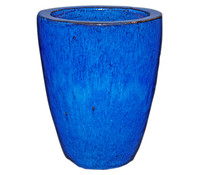 Keramik-Pflanztopf, blau glasiert, konisch