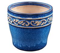 Keramik-Pflanztopf mit Dekor, glasiert