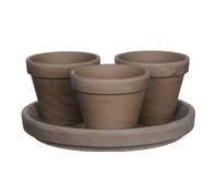 Keramik-Töpfe mit Teller, basalt, vierteilig