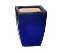 Keramik-Topf, blau glasiert, quadratisch