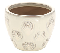 Keramik Topf, creme glasiert, rund
