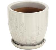 Keramik-Topf mit Blumenverziehrung, creme
