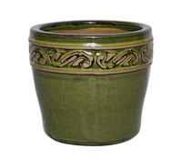 Keramik-Topf mit Dekor, glasiert, rund