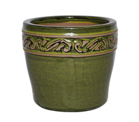 Keramik-Topf mit Dekor, glasiert