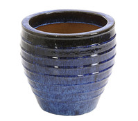 Keramik-Topf, rund, blau glasiert