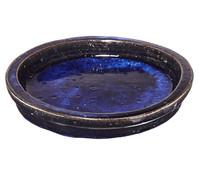 Keramik-Untersetzer Dang für Blumentopf, rund, blau