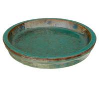 Keramik-Untersetzer, rund, grün glasiert