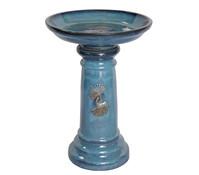 Keramik-Vogeltränke, blau glasiert