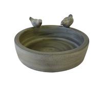 Keramik Vogeltränke mit 2 Vögeln, 28 x 28 x 8 cm