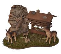 Kolbe Futterraufe mit Rehfamilie, 16 x 12 x 11 cm