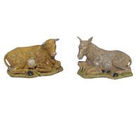 Kolbe Ochse und Esel liegend, für 10 cm Figuren