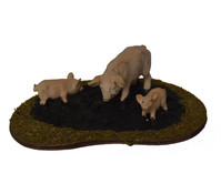 Kolbe Sauplatz mit 3 Schweinen, 13 x 9 x 4 cm