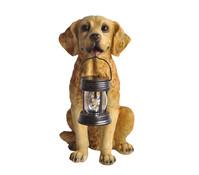 Kunststoff-Hund mit Solarlampe, braun, 37 x 26 x 47 cm